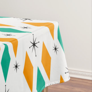 Mid Century Modern Era Diamonds Orange Turquoise Tablecloth