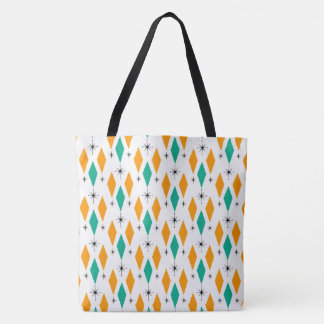 Mid Century Modern Era Diamonds Orange Turquoise Tote Bag