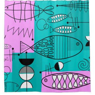 Mid-Century Modern Fish Art Pink Blue Shower Curtain