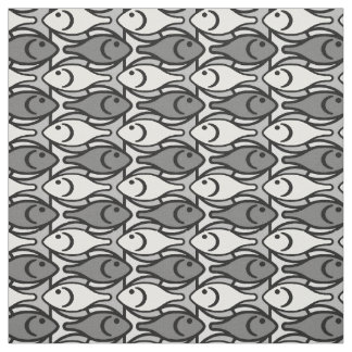 Mid-Century Modern fish, grey, white and black Fabric