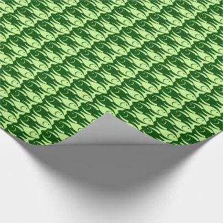 Mid-Century Modern fish, lime and dark green Wrapping Paper