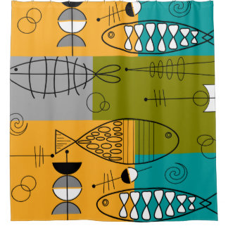 Mid-Century Modern Fish Shower Curtain
