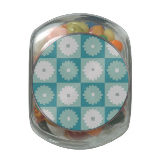Mid Century Modern Flowers Glass Candy Jar
