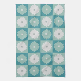 Mid Century Modern Geometric Flowers Kitchen Towel