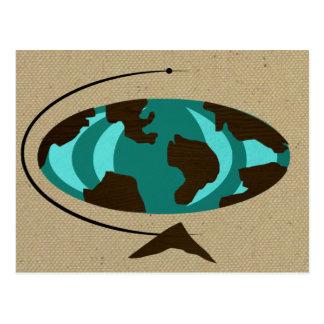 Mid Century Modern Globe Art Postcard