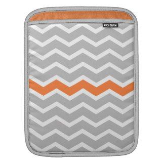 Mid Century Modern Gray Chevron with Orange iPad Sleeve