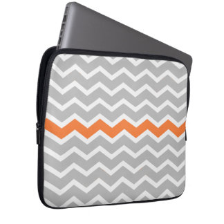 Mid Century Modern Gray Chevron with Orange Laptop Sleeve
