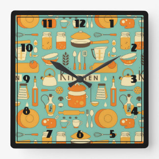 Mid-Century Modern Hipster Kitchen Utensils Square Wall Clock