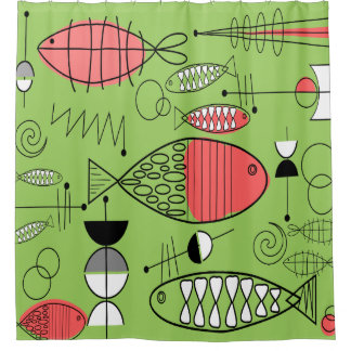 Mid-Century Modern Kitschy Fish Art Lime Green Shower Curtain