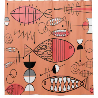 Mid-Century Modern Kitschy Fish Art Shower Curtain