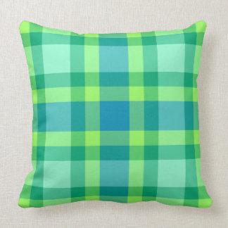 Mid-Century Modern Large Plaid, Jade green & Blue Cushion