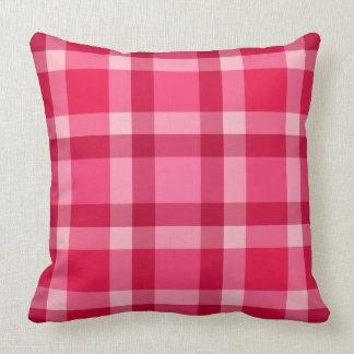 Mid-Century Modern Large Plaid, Pink and Wine Cushion