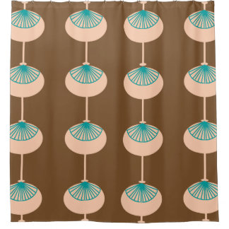 Mid-Century Modern Ovals Abstract Brown I Shower Curtain