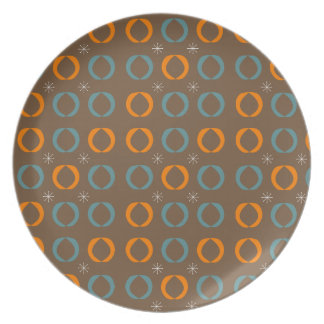 Mid Century Modern, Ovals, Stars Teal Orange Brown Plate