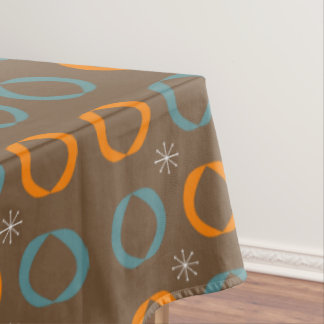 Mid Century Modern, Ovals, Stars Teal Orange Brown Tablecloth