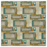 Mid-Century Modern Pattern Turquoise Orange Fabric