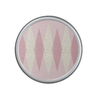 Mid Century Modern Pink Argyle Bumpster Speaker