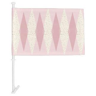 Mid Century Modern Pink Argyle Car Flag