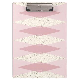 Mid Century Modern Pink Argyle Clipboard