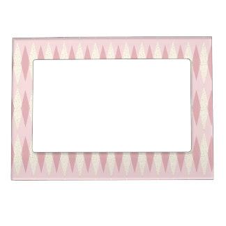 Mid Century Modern Pink Argyle Magnetic Frame