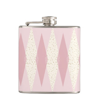 Mid Century Modern Pink Argyle Vinyl Wrapped Flask