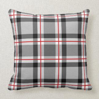 Mid-Century Modern Plaid, Black, White, Gray & Red Cushion