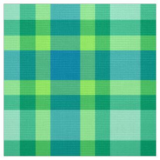 Mid-Century Modern Plaid - Jade green and Blue Fabric
