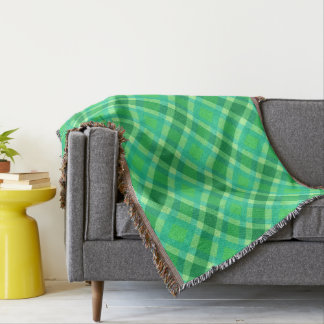 Mid-Century Modern Plaid - Jade green and Blue Throw Blanket