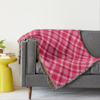Mid-Century Modern Plaid - Pink and Wine Throw Blanket
