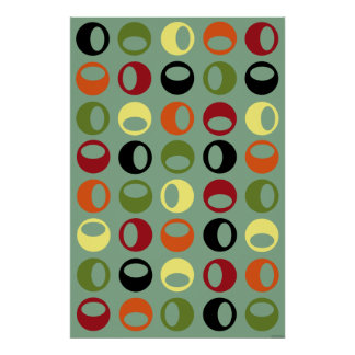 Mid-Century Modern Retro Abstract Art poster