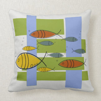 Mid Century Modern Retro Fish Swimming on Gray Cushion