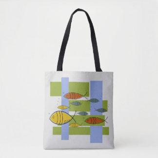 Mid Century Modern Retro Fish Swimming Pattern Tote Bag