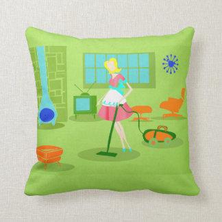 Mid Century Modern Retro Housewife Throw Pillow