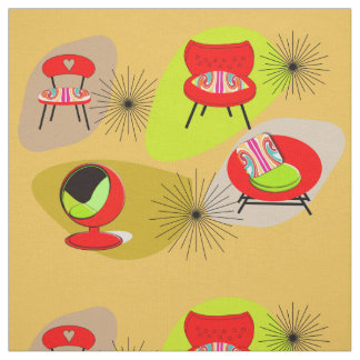 Mid Century Modern Retro Style Chair Illustrations Fabric