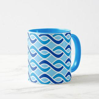 Mid-Century Modern Ribbons, cobalt & sky blue Mug