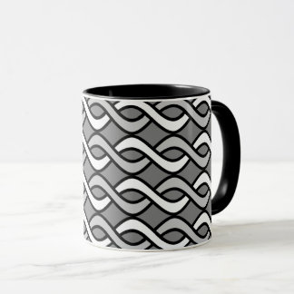 Mid-Century Modern Ribbons, grey, black and white Mug