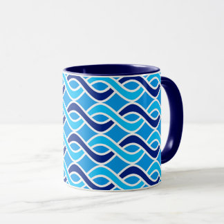 Mid-Century Modern Ribbons, Navy and Light Blue Mug