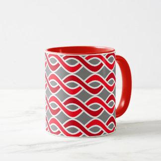 Mid-Century Modern Ribbons, red and grey / gray Mug