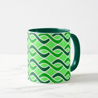 Mid-Century Modern Ribbons, shades of green Mug