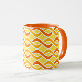 Mid-Century Modern Ribbons, Yellow and Orange Mug