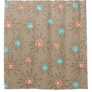 Mid-Century Modern Starburst Pattern Tan Shower Curtain