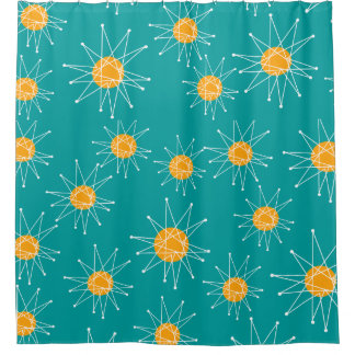 Mid-Century Modern Starburst Pattern Teal Shower Curtain