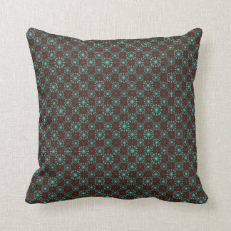 Mid Century Modern Starburst Turquoise Red Pattern Cushion