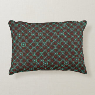 Mid Century Modern Starburst Turquoise Red Pattern Decorative Cushion