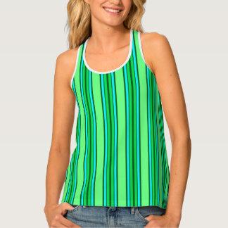 Mid-Century Modern Stripes, Lime Green and Aqua Singlet