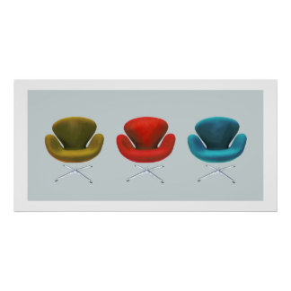 Mid Century Modern Swan Chairs Poster
