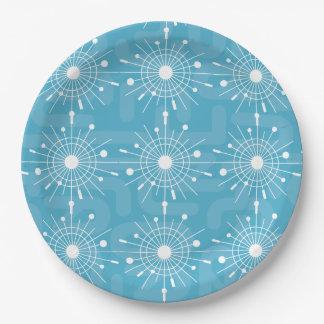 Mid Century Modern Teal Sputnik Snowflake MOD Paper Plate