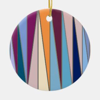 Mid-Century Modern Triangles, Blue, Purple & Gold Ceramic Ornament