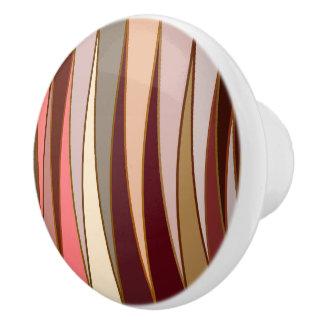 Mid-Century Modern Triangles, Brown, Beige & Coral Ceramic Knob