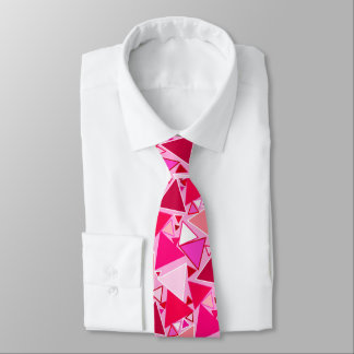 Mid-Century Modern Triangles, Pink and Burgundy Tie